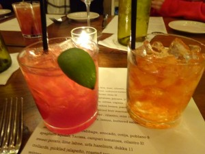 "Gin-based cocktail (with berry ""shrub"") and Old Fashioned. Too much ice and not well balanced."