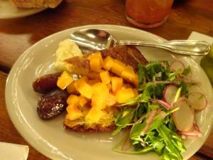 A fan favorite: socca, dates, honey, butternut, cultured butter