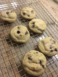Fresh baked cookies cooling on a wire rack