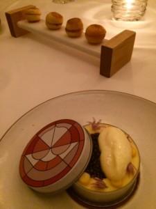 Caviar Benedict with corn and ham