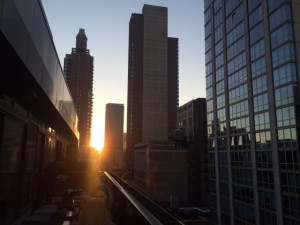 Watching the sunset from the rooftop deck at the Gansevoort on Park