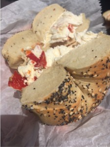 Everything bagel with sun-dried tomato cream cheese from Absolute Bagels