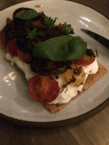 Burrata Tart with tomato, basil, curry, and truffle