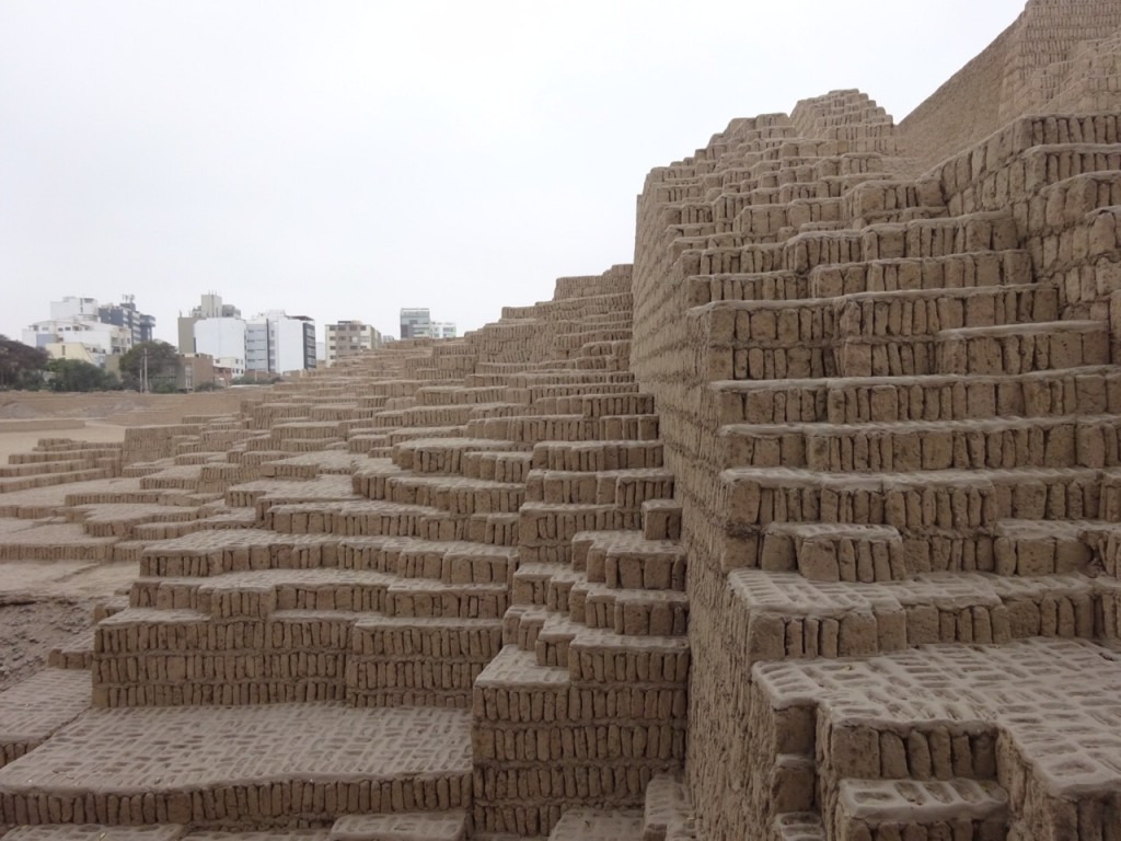 The ancient adobe complex at HUaca Pucllana