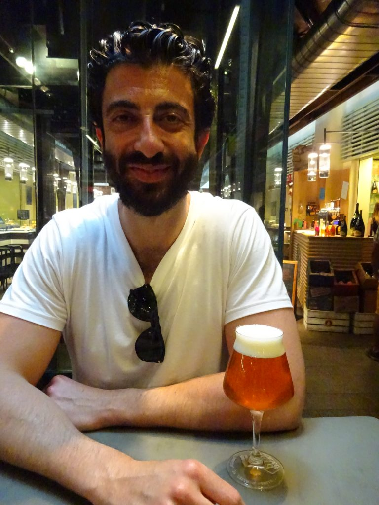 Jack enjoying a beer at Eataly
