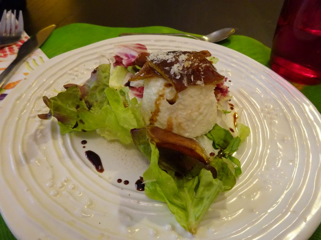 Savory panna cotta and grilled pear salad
