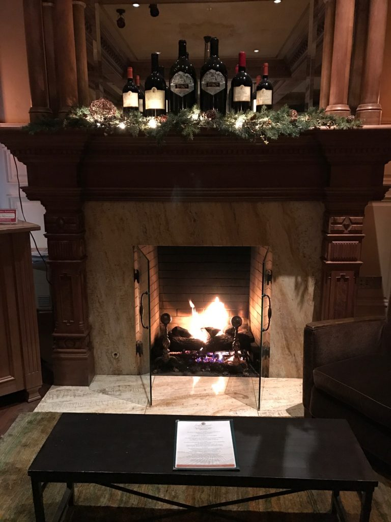 Cozy fireplace at the Ledson Hotel